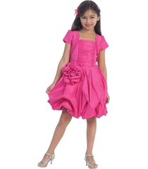 stunning girl's fuchsia or red flower girl pageant party dress w/bolero