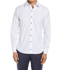 david donahue trim fit dress shirt, size 17.5 in white/blue at nordstrom