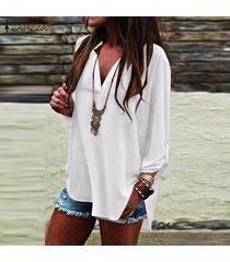 zanzea verano las mujeres con cuello en v manga larga ol trabajo normal ladies tops blusa de la camisa suéter más del tamaño -blanco