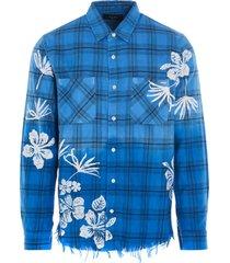 amiri bleach floreal plaid shirt