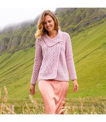 dusty pink ladies annaghmore aran cardigan small