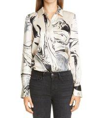 women's lafayette 148 new york scottie silk blouse, size x-large - beige