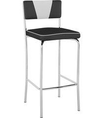 banqueta alta retrô pb17 assento vinil preto encosto branco - pozza