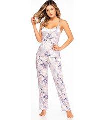 pijama mujer conjunto pant satín lila 11403
