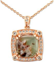 "le vian peacock aquaprase (10mm) & vanilla topaz (1/4 ct. t.w.) 20"" pendant necklace in 14k rose gold"