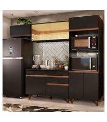 cozinha completa madesa reims 260001 com armário e balcão preto preto