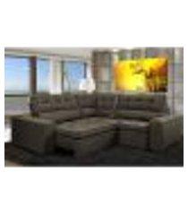 sofa de canto retrátil e reclinável com molas cama inbox austin 2,20m x 2,20m suede velusoft café