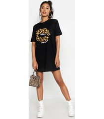 luipaardprint t-shirtjurk met lippen, black