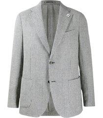 lardini fine knit fitted blazer - white