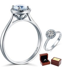 925 sterling silver halo promise / engagement ring 1 ct lab diamond substitute