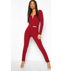 plunge belted long sleeve jumpsuit, berry