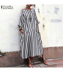 zanzea de gran tamaño de las mujeres con cuello redondo de la raya vestido maxi largo batwing kaftan camisa de vestir plus -negro