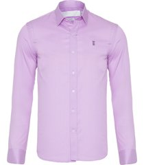 camisa masculina chambray maquineta - rosa