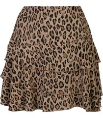 mini flounce leopard layered skirt