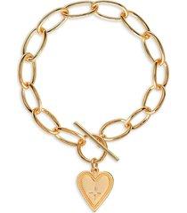 gabi rielle women's gold vermeil & cubic zirconia heart toggle bracelet