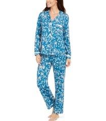 miss elaine floral-print shirt & pants pajamas set
