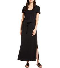 women's caslon cotton blend maxi dress, size xx-large - black