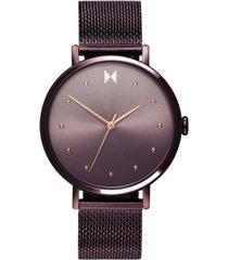 mvmt women's dot vibe purple steel mesh bracelet watch 36mm