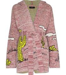 alanui snoopy wraparound cardigan - pink