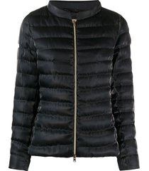 herno quilted sateen funnel-neck jacket - black