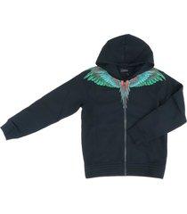 marcelo burlon full zip green wings sweatshirt