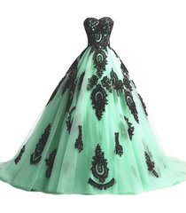 kivary long ball gown black lace gothic corset formal prom evening dresses mint