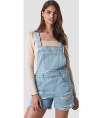na-kd distressed denim short dungarees - blue