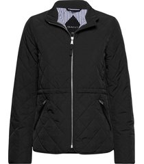 d1. quilted fitted jacket doorgestikte jas zwart gant