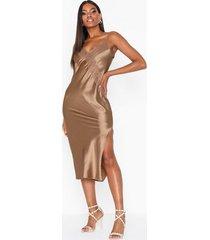 topshop bronze lace satin slip dress festklänningar