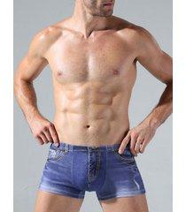 hombres denim print underwear sexy boxers jean cowboy underpants