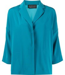 gianluca capannolo draped single-breasted blazer - blue