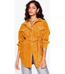 womens going according to plan belted longline jacket - mustard