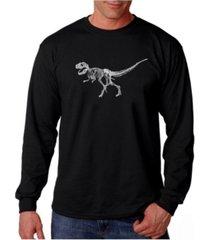 la pop art men's word art long sleeve t-shirt - dinosaur t-rex skeleton