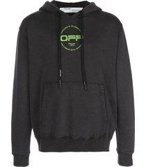 off-white hand and logo print hoodie - black