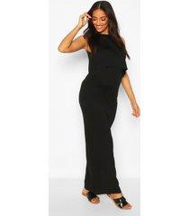 maternity nursing maxi dress, black