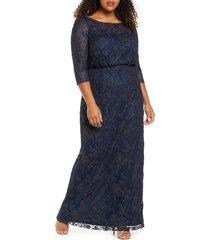 plus size women's js collections metallic soutache blouson mesh gown, size 24w - blue