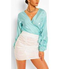 metallic puff sleeve wrap blouse, blue