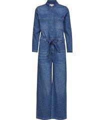 slfvictoria denim jumpsuit w jumpsuit blauw selected femme