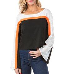 flare sleeve drop shoulder contrast t-shirt