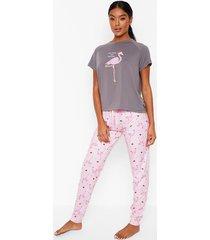 flamingo kerst pyjama shirt en leggings set, grey