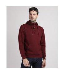 blusão de moletom masculino texturizado com capuz e bolso vinho
