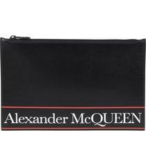 alexander mcqueen logo print clutch