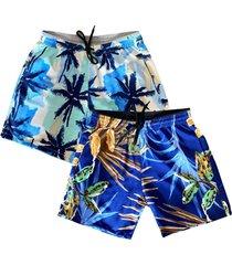 kit 2 shorts praia masculino estampado microfibra com elastano bolsos laterais kit-2un-095.2 colorido