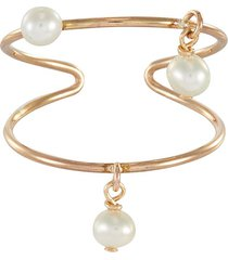 'pollio' freshwater pearl charm 14k gold plated single ear cuff