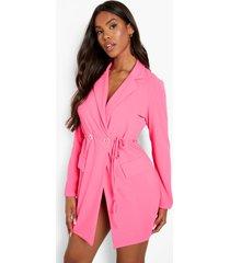 gedrapeerde neon blazer jurk, neon-pink