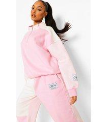 official colour block sweater met korte rits en label, pink