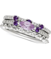 3-pc. set multi-gemstone stackable ring set (1-1/4 ct. t.w.) in sterling silver