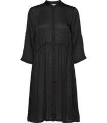 u6045, woven dress on knee jurk knielengte zwart saint tropez