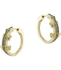 animal 14k goldplated & crystal hoop earrings