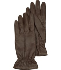 forzieri designer women's gloves, chocolate brown leather women's gloves w/wool lining